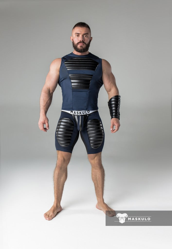 Markdown. Men's Fetish Shorts. Codpiece. Open rear. White thigh pads