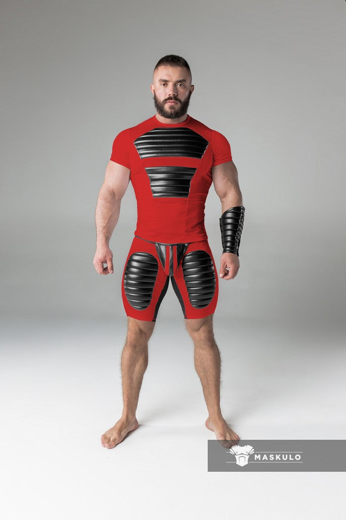 Armored. Men's Fetish Shorts. Codpiece. Open rear. Thigh pads