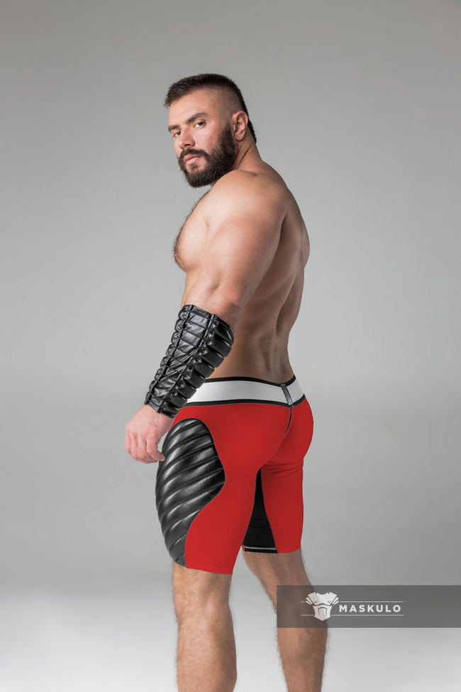 Men's Fetish Shorts. Codpiece, Zippered rear, full thigh Pads
