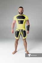 Armored. Men's Fetish Shorts. Codpiece. Thigh pads. Navy Blue. Yellow