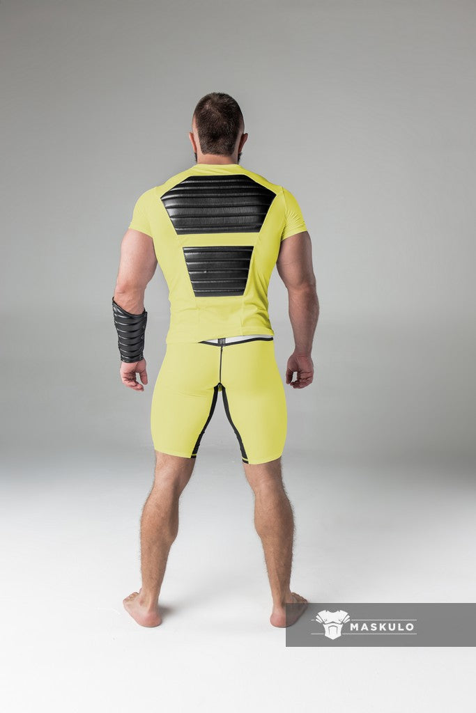 Armored. Men's Fetish Shorts. Codpiece. Rear Zipper. Thigh pads. Yellow. Navy Blue