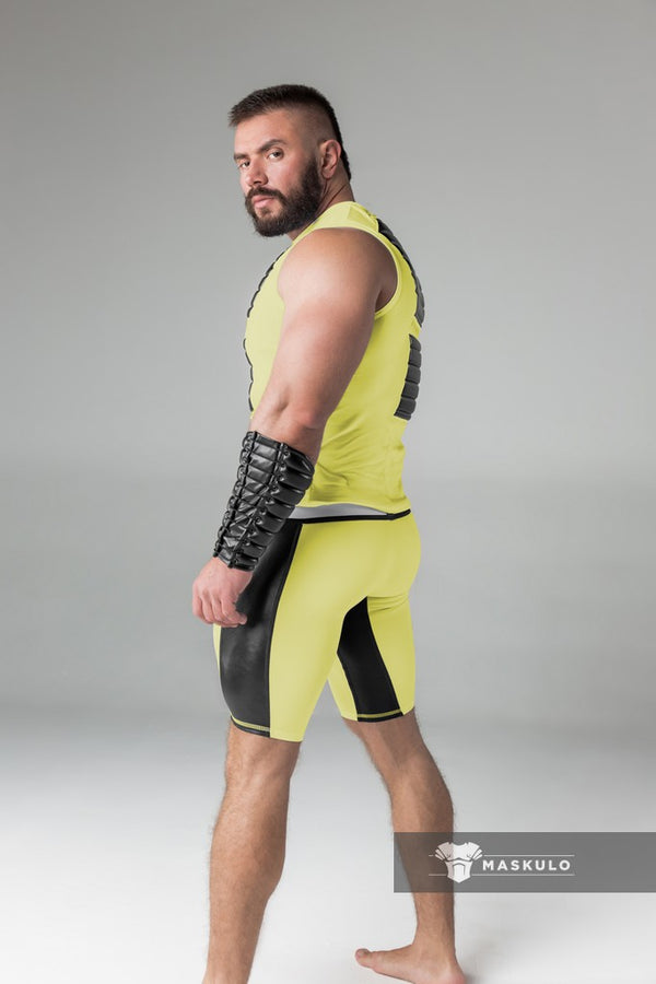 Armored. Men's Fetish Shorts. Codpiece. Navy Blue. Yellow