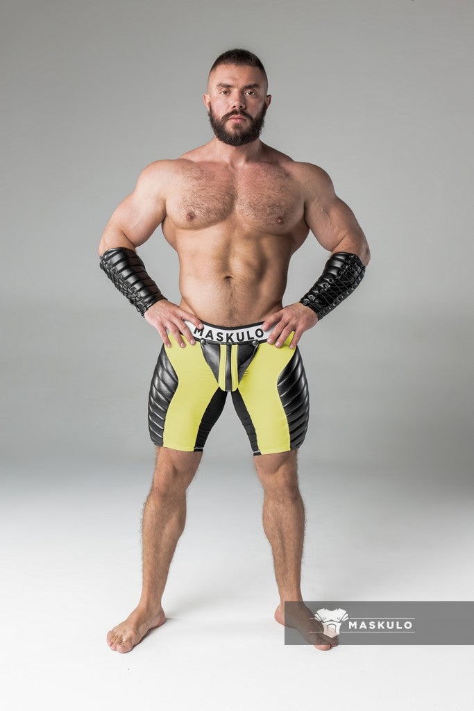 Armored. Men's Fetish Shorts. Codpiece. Zippered rear. Full thigh Pads. Yellow. Navy Blue