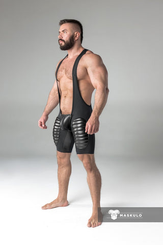 Men's Fetish Wrestling Singlet. Codpiece, Open rear, Thigh pads. Black