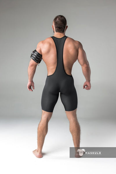 Armored. Men's Fetish Wrestling Singlet. Codpiece. Thigh Pads