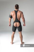Men's Fetish Wrestling Singlet. Codpiece, Open rear
