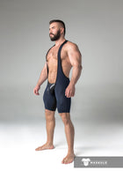 Armored. Men's Fetish Wrestling Singlet. Codpiece. Open rear. Yellow. Navy Blue