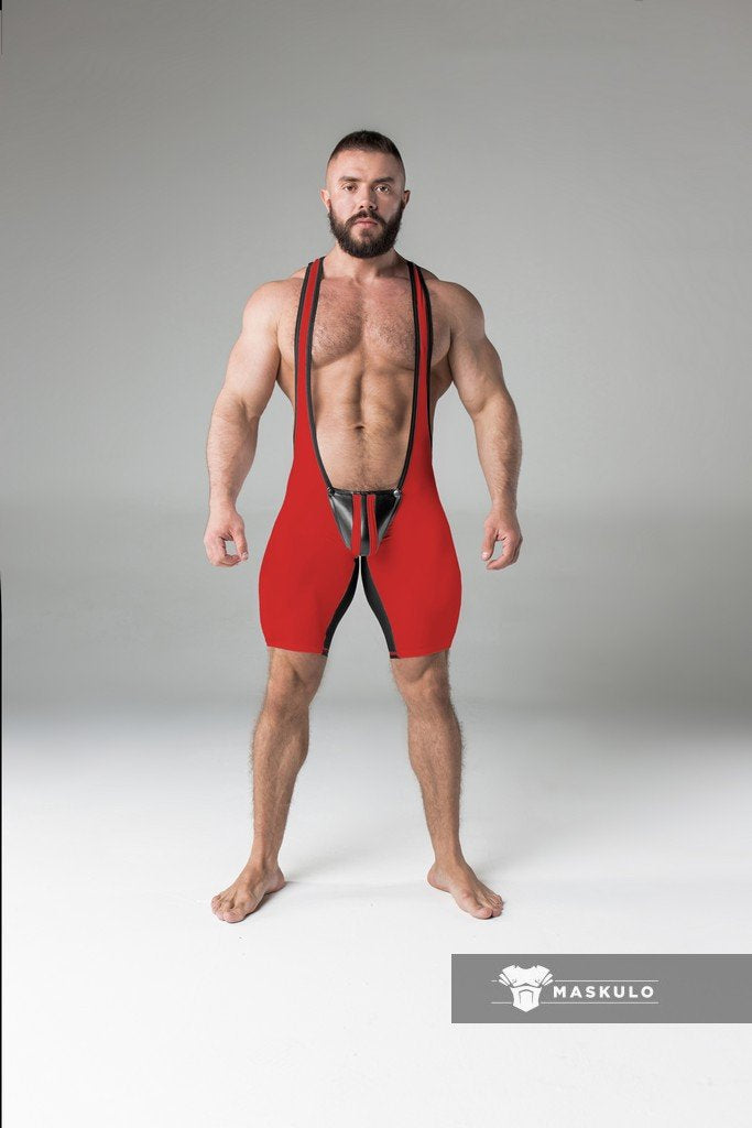 Armored. Men's Wrestling Singlet. Codpiece. Open rear