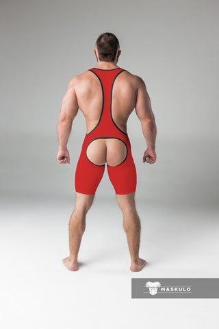 Men's Fetish Wrestling Singlet. Codpiece, Open rear. Red + Black