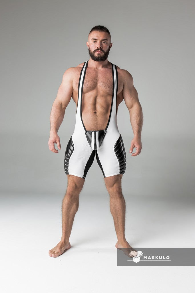Armored. Men's Fetish Wrestling Singlet. Codpiece. full thigh Pads