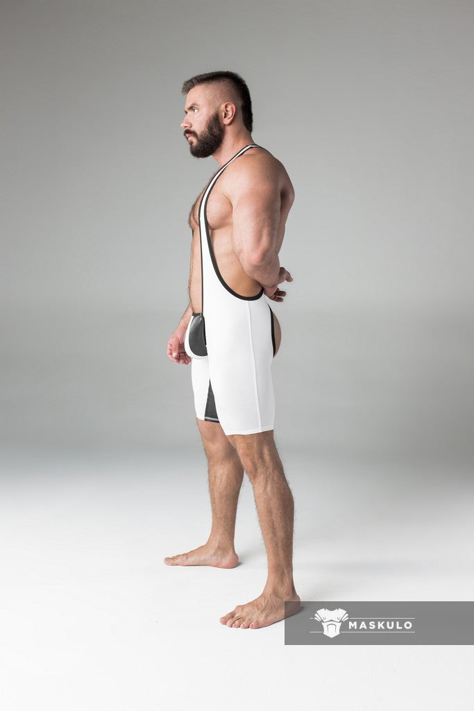Men's Fetish Wrestling Singlet. Codpiece, Open rear. White + Black