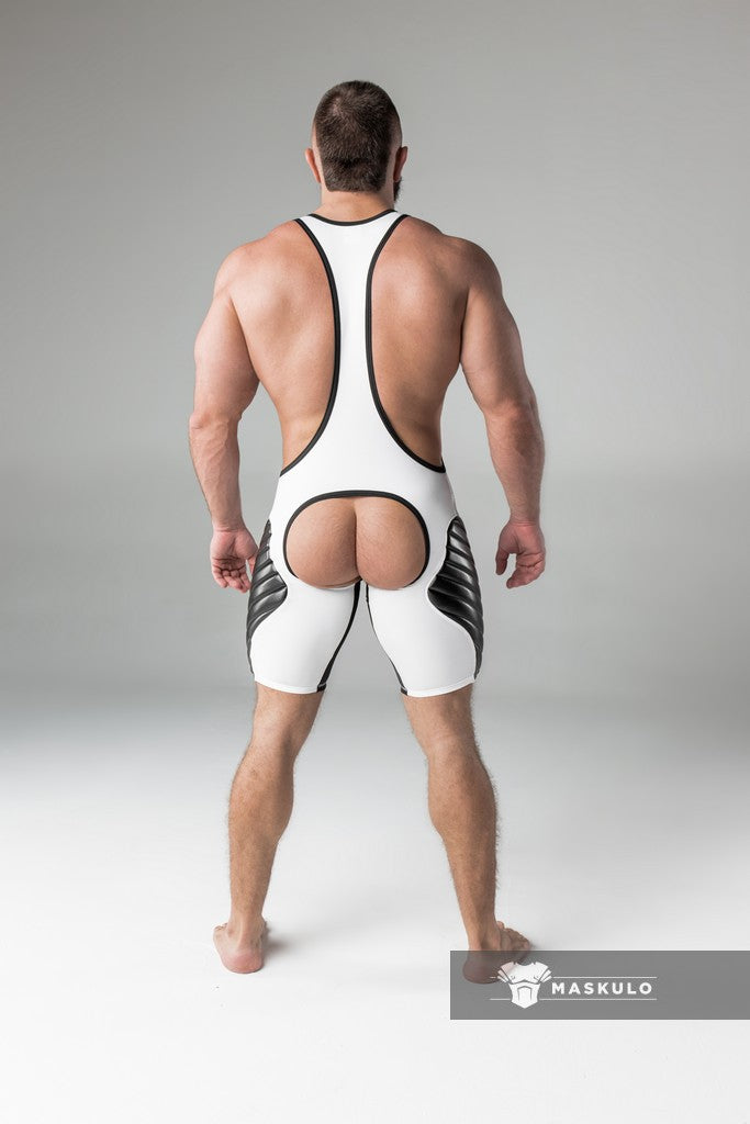Armored. Men's Fetish Wrestling Singlet. Codpiece. Open rear. full thigh Pads