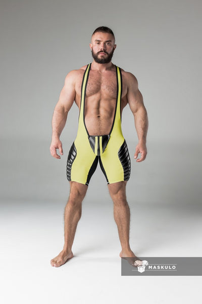 SALE Armored. Men's Fetish Wrestling Singlet. Codpiece. full thigh Pads. Yellow. Navy Blue