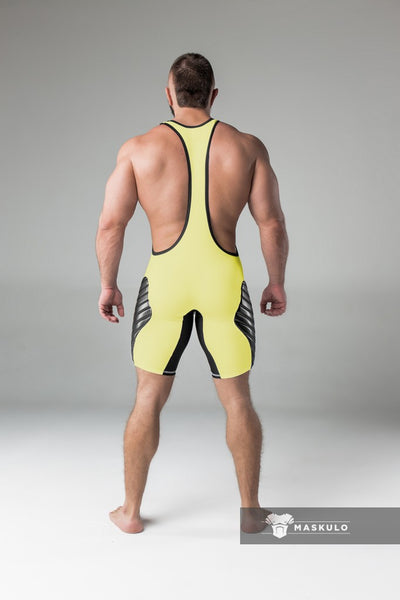 SALE Armored. Men's Fetish Wrestling Singlet. Codpiece. Full Thigh Pads