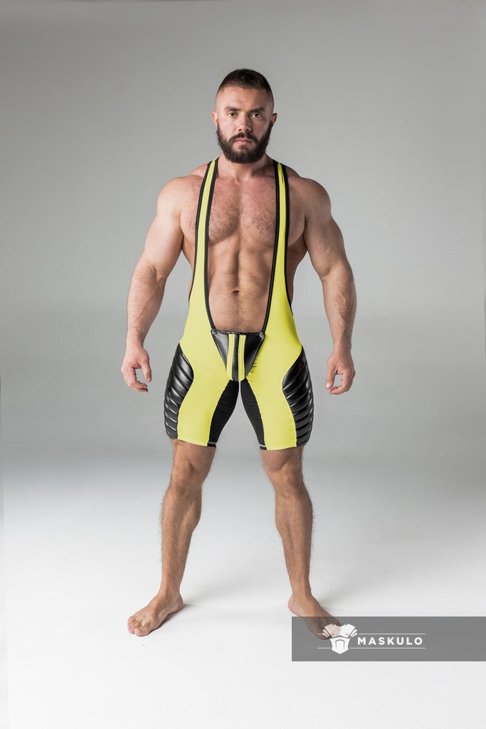 SALE Armored. Men's Fetish Wrestling Singlet. Codpiece. Open rear. full thigh Pads. Navy Blue. Yellow