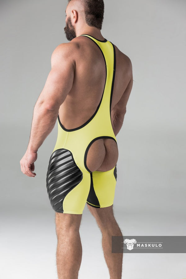 Armored. Men's Fetish Wrestling Singlet. Codpiece. Open rear. full thigh Pads. Navy Blue. Yellow