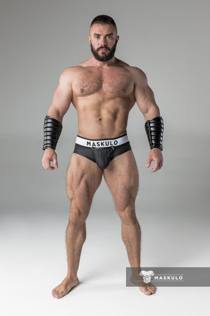 Armored. Rubber look Briefs. Detachable pouch. Open rear. Black