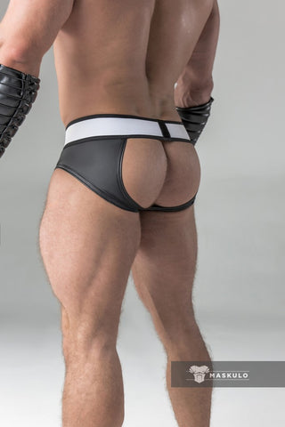 Markdown. Rubber look Briefs. Detachable pouch. Open rear. Material defects