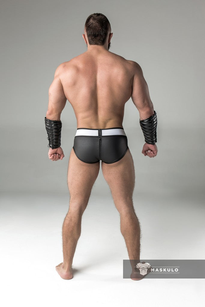 Armored. Rubber look Briefs. Detachable pouch. Zippered rear. Black