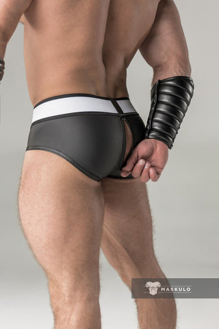 Rubber look Briefs. Detachable pouch. Zippered rear. Black