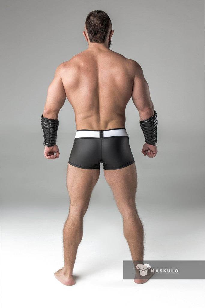 Armored. Rubber Look Trunk shorts. Detachable Pouch. Black