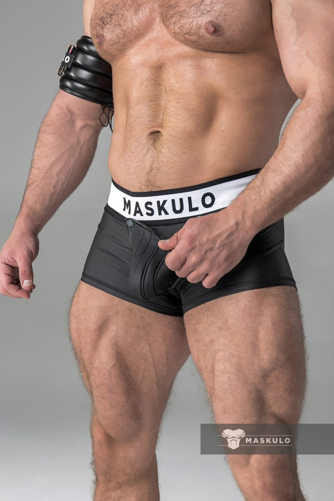 Rubber look Trunks. Detachable pouch. Open rear. Black