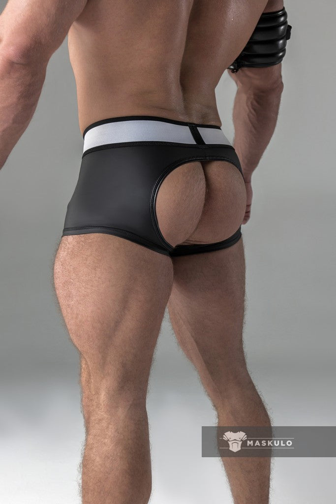 Armored. Rubber Look Trunk shorts. Detachable pouch. Open Rear. Black