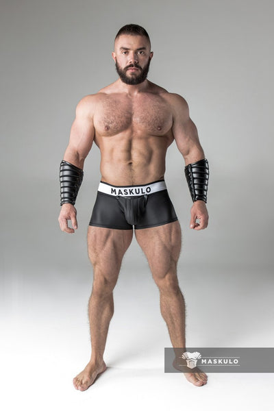 Armored. Rubber Look Trunks. Detachable Pouch. Black