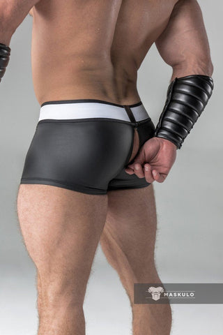 Rubber look Trunks. Detachable pouch. Zippered rear. Black