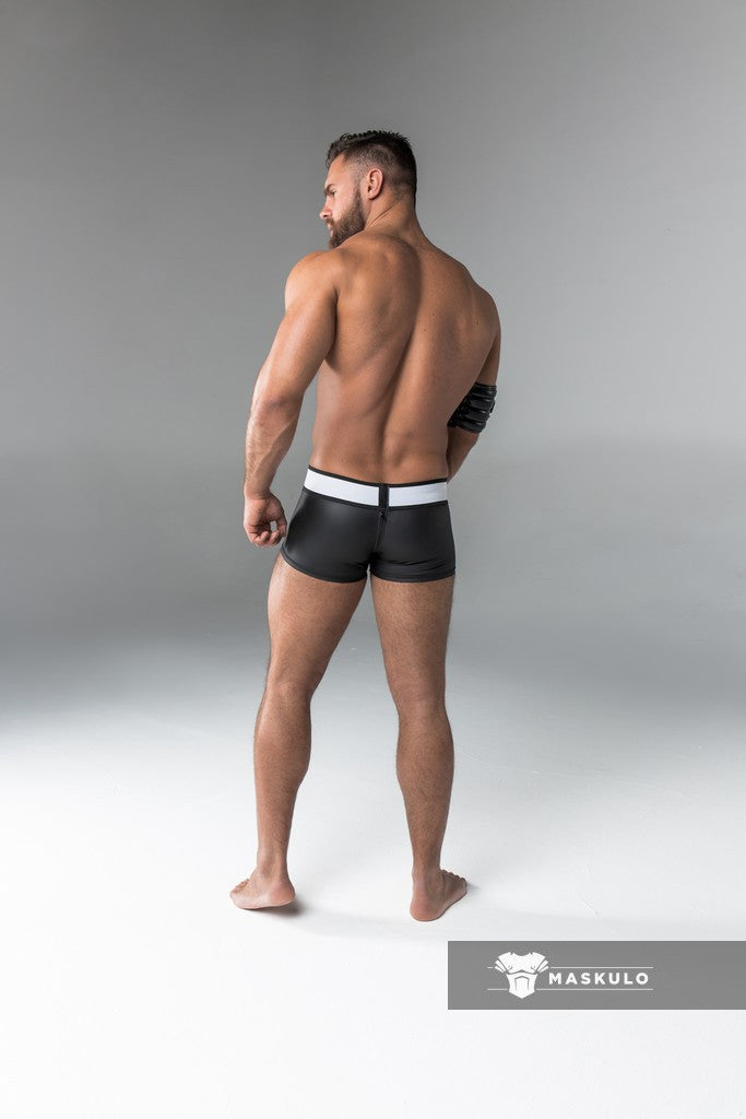 Armored. Rubber look Trunk shorts. Detachable pouch. Zippered rear. Black