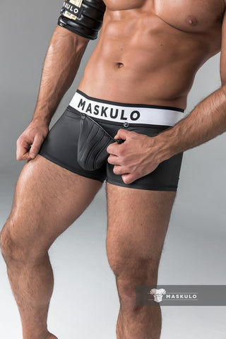 Rubber look Trunks. Detachable pouch. Black