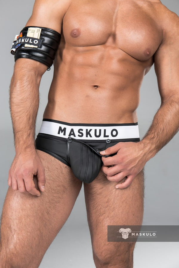 Armored. Rubber look Briefs. Detachable pouch. Black