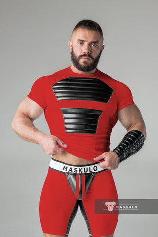 Markdown. Men's Fetish T-Shirt. Spandex. Front Pads