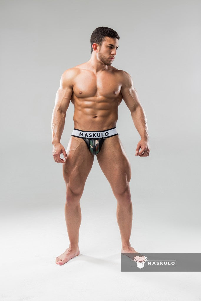 Armored. Men's Fetish Jockstrap. Detachable codpiece. Camo