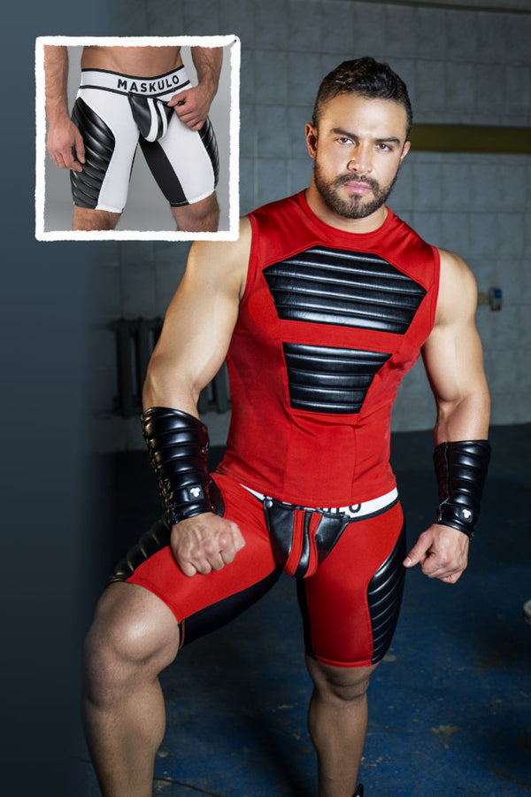 Armored. Men's Fetish Shorts. Codpiece. Zippered rear. Full thigh Pads