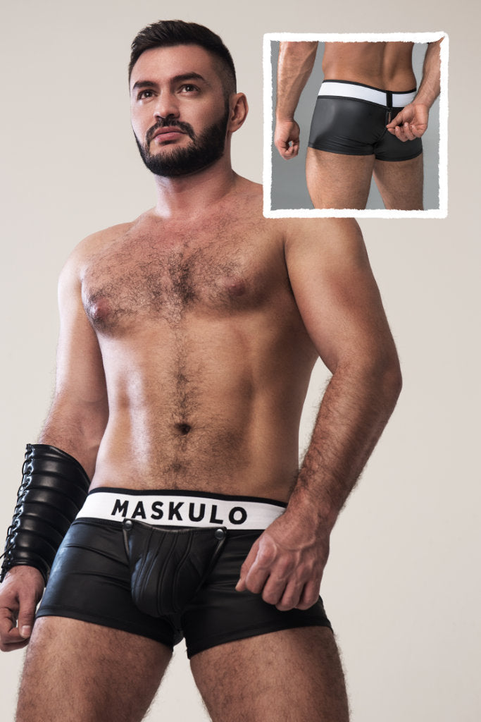 Armored. Rubber look Trunks. Detachable pouch. Zippered rear. Black