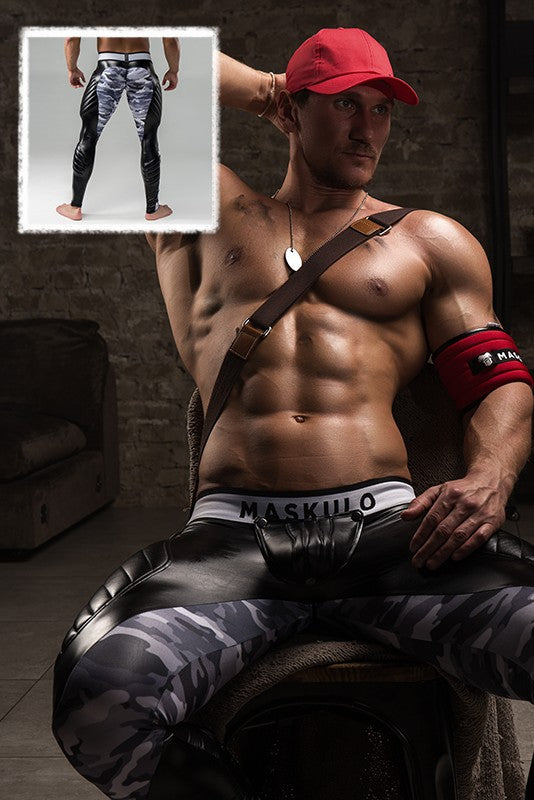 SALE Armored. Men's Fetish Leggings. Codpiece. Zipped rear. Camo