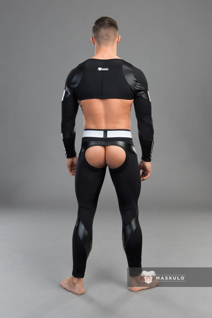 Youngero. Men's Fetish Leggings. Codpiece. Open Rear. Black