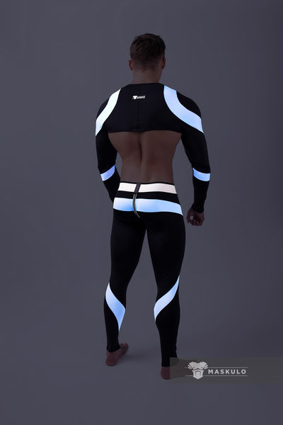Youngero. Men's Fetish Leggings. Codpiece. Zipped rear. Neon