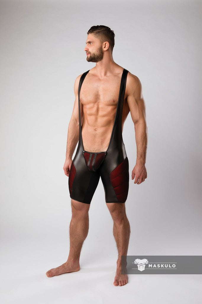 Armored. Color-Under. Men's Fetish Wrestling singlet. Zipped rear
