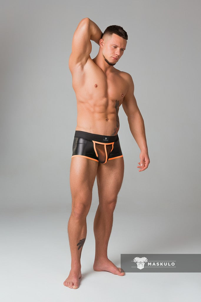 Youngero. Men's Fetish Trunks. Mesh Codpiece. Open Rear. Neon