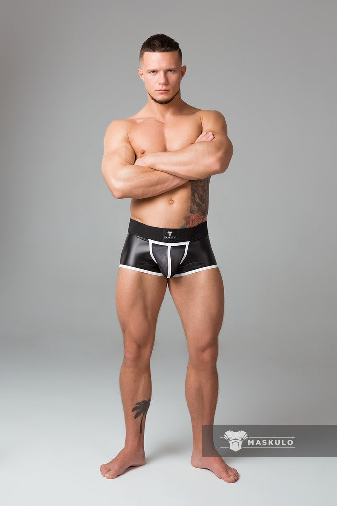 Markdown. Men's Fetish Trunks. Mesh Codpiece. Open Rear. Neon. Rubber logo