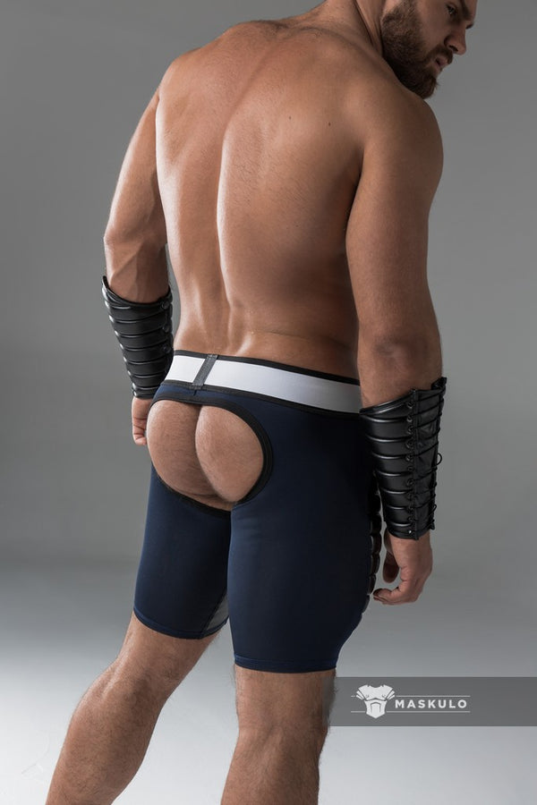 Armored. Men's Fetish Shorts. Codpiece. Open rear. Thigh pads. Navy Blue. Yellow