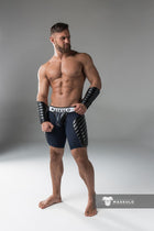 Armored. Men's Fetish Shorts. Codpiece. Full thigh Pads. Navy Blue. Yellow
