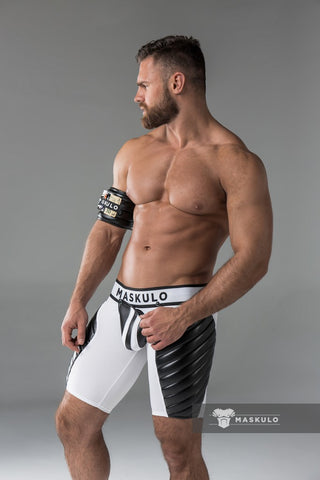 Markdown. Men's Fetish Shorts. Codpiece, full thigh Pads. No inner thigh stripe.