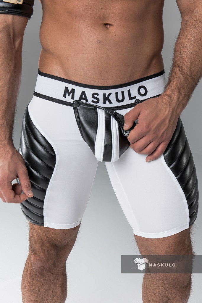 Markdown. Men's Fetish Shorts. Codpiece. Full thigh Pads. No inner thigh stripe.