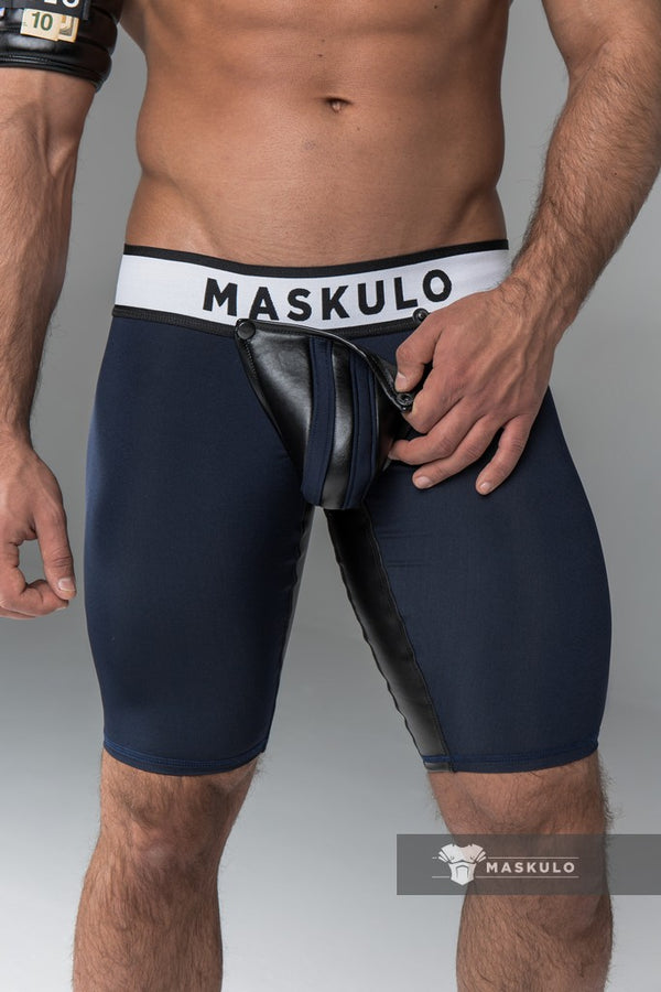 Armored. Men's Fetish Shorts. Codpiece. Open rear. Navy Blue. Yellow