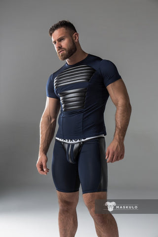 Men's Fetish T-Shirt. Spandex. Front pads. Navy Blue