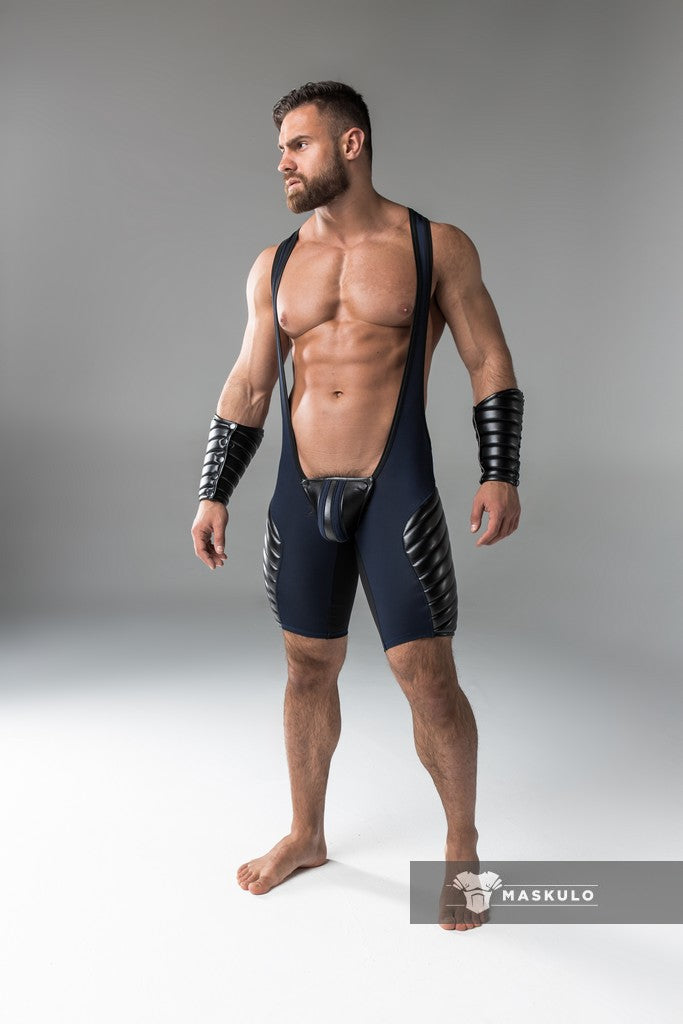 Men's Fetish Wrestling Singlet. Codpiece, full thigh Pads. Navy Blue + Black