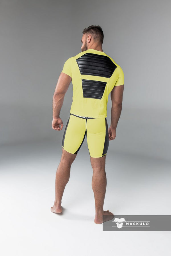 Armored. Men's Fetish T-Shirt. Spandex. Front Pads